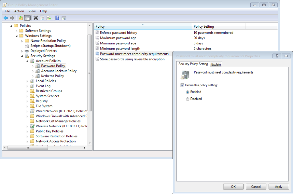 windows password complexity not working